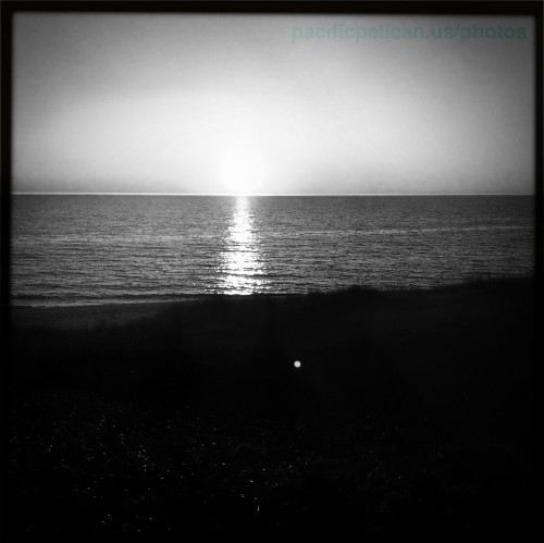 black and white sunset over Lake Michigan at Michago
